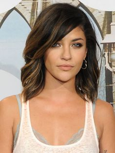 Lob with highlights and long side bangs. This is how it would look with my skin tone