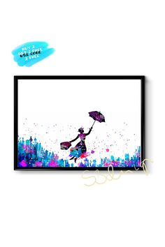 Mary Poppins Watercolor Print Disney Watercolor Mary Poppins