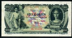 Czechoslovakian banknotes 100 Czech Korun banknote, issued by the National Bank…