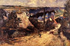 Entrance to a Villages - painting by Paul Gauguin