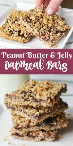 Do your kids love peanut butter and jelly? If so, they'll love this tasty recipe for Peanut Butter and Jelly Oatmeal Bars! Do your kids love peanut butter and jelly? If so, they'll love this tasty recipe for Peanut Butter and Jelly Oatmeal Bars! Oatmeal Bars Healthy, No Bake Oatmeal Bars, Peanut Butter Oatmeal Bars, Healthy Peanut Butter, Peanut Butter Recipes, Oatmeal Breakfast Bars, Breakfast Bars Healthy, Peanut Butter Jelly Recipe, Homemade Oatmeal Bars