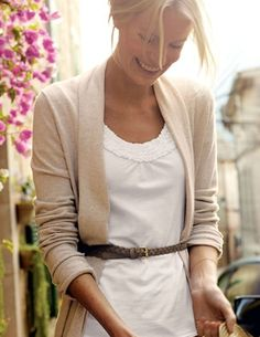 Beige cardigan  white top + thin belt over sweater