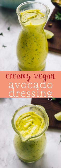 This Creamy Vegan Avocado Dressing takes just 5 minutes to come together is healthy so creamy and delicious and great of any salad! via http://jessicainthekitchen.com