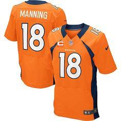 Men's Nike Denver Broncos #18 Peyton Manning Elite Orange Team Color C Patch NFL Jersey  http://www.nflbroncosnikegear.com/