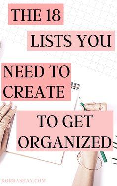 Organization Lists, Organizing Life, Organizing Clutter, Planning And Organizing, Organising, Life Planner, Life Binder, Organize Your Life, Time Management Tips