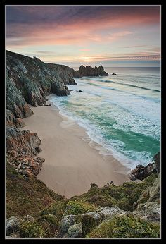 Great Path Porthcurno Sunrise - england Cornwall yes i am~~~beach woman I am I am beach. Devon And Cornwall, Cornwall England, Yorkshire England, Yorkshire Dales, England Ireland, England And Scotland, Cornwall Beaches, St Just, Tropical
