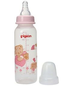 Pigeon Slim Neck Feeding Bottle features a Peristaltic Nipple which ensures milk flows smoothly to baby's stomach with a minimum air intake.The super ultra soft elastic silicone nipple comes with double thickness and is of ideal shape that fits perfectly