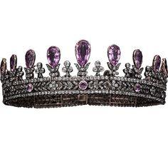 Victorian Estate 16.72 Ct Rose Cut Diamond & Amethyst 925 Sterling Sliver Tiara #Handmade #Quuen