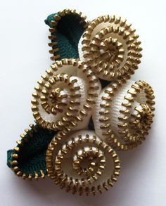 Warm White Abstract Floral Brooch / Zipper Pin Brass Teeth by ZipPinning 3041 by ZipPinning on Etsy