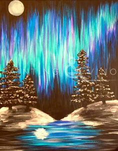 """""""Arctic Moon"""" has feeling all creative and stuff. Come paint with us on 1/11/16 at Caffe Bella, Pacific Beach. Click the photo for more info!"""