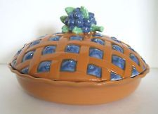 BLUEBERR PIE HOLDER COVER CERAMIC KITCHEN WARE FRUIT CLASSIC DECORATIVE TOP PROP & Ceramic Decorative Covered Lid Lemon Pie Plate Dish Vintage ...