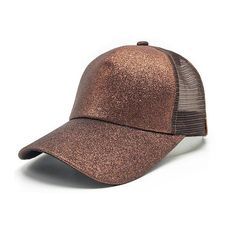 0f59f033008 Brown Glitter Ponytail Baseball Cap Ponytail Beanie