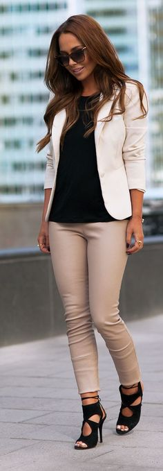 Chic White Blazer and Nude Leather Pants - Johanna...