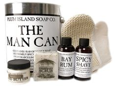 The Man Can is the perfect gift for the outdoorsman. Chock full of all natural skincare products made by hand by us gals at the Plum Island Soap