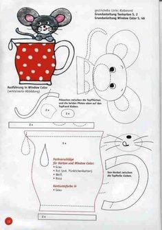 Mouse in a cup appliqué  pattern.