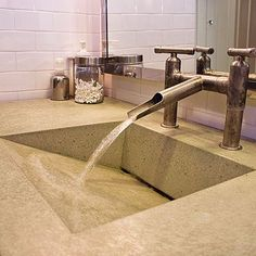 Integral concrete sink - Bathroom Vanity, Counter,  Sink Ideas - Sunset.  http://www.houzz.com/pro/evergreencs/evergreen-cast-stone