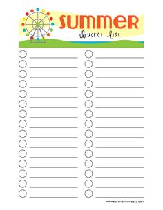 Printable Summer Buc