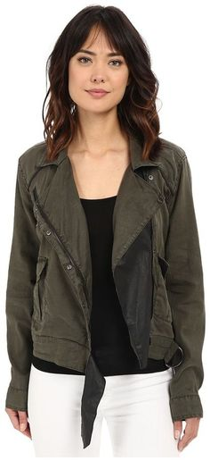 Blank NYC - Women's Olive Green Utility Jacket with Black Vegan Leather Detail