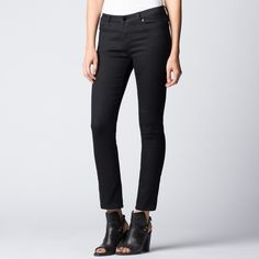 DSTLD - Mid Rise Cigarette Jeans in Black Powerstretch | DSTLD Jeans | Luxe Denim from $65