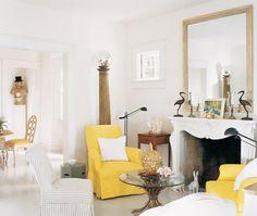 Cheerful White & Yellow Sitting Area |photo Fernando Bengoechea | design Albert Hadley | House & Home