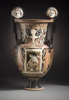 Volute-krater with a woman seated in a shrine by the Baltimore Painter South Italy, Apulia, c. 320 B.C. red-figure ceramic LACMA