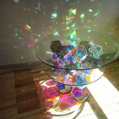 amazing geometric iridescent rainbow sparkle coffee table created by ✨ 70 Amazing Crystal and Mineral Decor that Will Make Your Home Look Magical - DecOMG Minneapolis-based designer John Foster has created a beautiful series of custom tables that sparkl Le Palace, Rainbow Aesthetic, Home Look, Glass Art, Cut Glass, Etched Glass, Bedroom Decor, Bedroom Bed, House Design