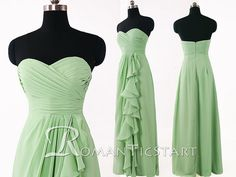2015 pale green chiffon long bridesmaid dress with Ruffle, A-line sweetheart  prom dress under 100, 80s  floor-length formal dresses ,RS1069