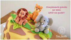 Torta de animalitos de la selva (con leon, elefante y leopardo)
