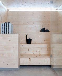 like the light wood color sauna Scandinavian Saunas, Modern Saunas, Interior Exterior, Interior Design, Outdoor Sauna, Sauna Design, Finnish Sauna, Sauna Room, Steam Room
