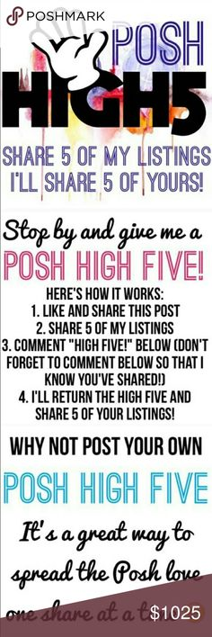 """POSH HIGH 5 ME! Credit goes to @redoyou, for the awesome photos. ONE high five per day please. Be sure to comment """"high five"""" and I will share back! PLEASE REMEMBER, your closet must be Posh Compliant meaning only the sale of women's fashion/accessories and transactions must have been completed all within the app. Posh does not support or promote PayPal, TRADES or other marketplaces like Etsy and eBay. Accessories"""