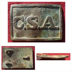 """ATLANTA ARSENAL STYLE C.S.A. RECTANGLE IN VERY GOOD CONDITION.  THE FACE HAS STRONG, CRISP LETTERS.   IT HAS A PRIMARILY MEDIUM BROWN PATINA, WITH SOME GREEN HIGHLIGHTS AND THE REVERSE HAS ALL THREE HOOKS PRESENT.  THIS BUCKLE IS """"JUST AS DUG"""" WITH NO REPAIRS, THOUGH IT DOES HAVE A VERY SLIGHT RIPPLE AND THE HOOKS ARE PRESSED DOWN AGAINST THE PLATE.  A WONDERFUL BUCKLE OUT OF NORTH MISSISSIPPI."""