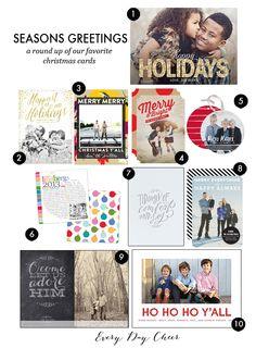 Christmas Card Roundup - http://everydaycheer.com/2013/11/17/christmas-card-roundup/