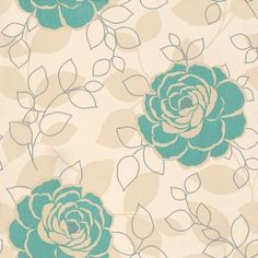 Love your walls (E43501) - Albany Wallpapers - Turquoise blue and beige rose design with silver metallic detail on a pale cream background.  Also available in lime green. Co-ordinating stripe available. Please request sample for true colour match.