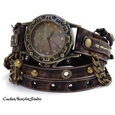 Montre pour femme : Steampunk Wrap Watch Antique Brown Wrap around Watch Womens leather watch Vintage looking Bracelet Watch Rustic Wrist Watch Arte Steampunk, Style Steampunk, Steampunk Watch, Gothic Steampunk, Steampunk Fashion, Fashion Goth, Steampunk Outfits, Steampunk Cosplay, Steampunk Clothing
