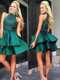 Green Halter Open Back Homecoming Dresses with Beading,Short Prom Dresses, PH121