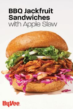 """Look for refrigerated BBQ jackfruit in the HealthMarket or Produce section and sink your teeth into this saucy summer vegetarian sandwich. Find the recipe and everything you need to make this """"meaty"""" meatless lunch or dinner at Hy-Vee.com."""