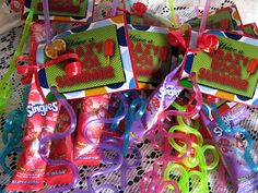 End of the Year - Have a crazy, cool summer.  Attach a crazy straw, kool-aid single, and a water bottle.