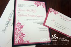 """5x7"""" Black and pink wedding invitation with victorian scroll design."""
