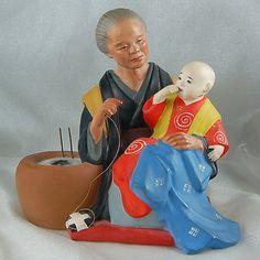 Vintage Hakata Doll from Collectors Estate - Grandmother Sewing Kimono (HK098)   eBay
