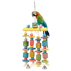 Wooden Bird Toys Pet Macaw Hanging Blocks Cage Toys for Parrot Parakeet Cockatiel Swing Parrot Toys Parrot Pet, Parrot Toys, Parrot Bird, Macaw Cage, Parakeet Toys, Colorful Parrots, Activity Toys, Bird Toys, Toy Sale