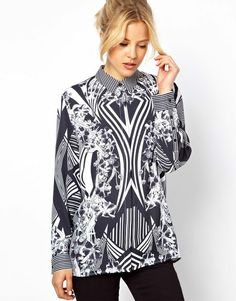 Shirt in Monochrome Placement Print - Lyst