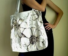 Hand painted bags inspired by fine art made by SiyahBeyazBags.