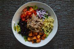 peace. love. & good food.: Roasted Sweet Potato, Black Bean + Pulled Pork Bowls
