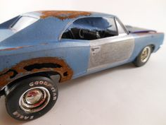 1967 Pontiac GTO in blue in 1/24 scale model car. Used to do this as well long time ago :-)