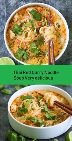 THAI RED CURRY NOODLE SOUP Yes, you can have Thai takeout right at home! This soup is packed with so much flavor with bites of tender chicken, rice noodles Vegetarian Recipes, Cooking Recipes, Healthy Recipes, Thai Curry Recipes, Healthy Thai Food, Thai Food Recipes, Best Soup Recipes, Healthy Soups, Heathly Soup Recipes