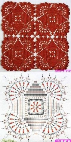 Crochet Patterns Shawl Knitting and embroidery, needlework - Magic fingers .Knitting and embroidery, needlework - Magic Wand - Articles: Serviette fabricated from sq.One of the most beautiful crochet works I have ever seen. Crochet Motif Patterns, Granny Square Crochet Pattern, Crochet Blocks, Crochet Diagram, Crochet Chart, Crochet Squares, Thread Crochet, Crochet Granny, Crochet Tablecloth