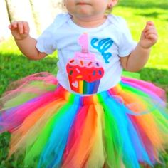 Rainbow first birthday outfit