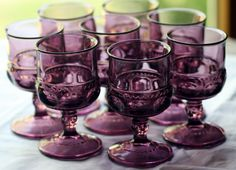 Vintage Kings Crown Indiana Glass Amethyst Cordials Wine Glasses Set of Eight