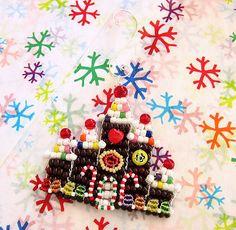 OOAK Beaded Gingerbread Castle Ornament $20