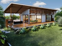 Another roof idea for the beachside bungalow. The roof could extend east to give additional shelter over the whale watching seat Lennox Head granny flat / dwelling / NSW — Baahouse / Granny flats / Tiny House / Small houses / Brisbane / Australia wide Modern Small House Design, Tiny House Design, Tropical House Design, Tropical Houses, 2 Bedroom House Design, Two Bedroom Tiny House, Shed Homes, Prefab Homes, Casas Containers